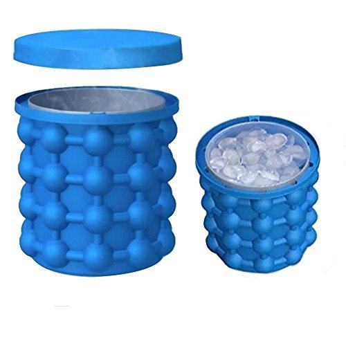 Eiswürfelformen Eiseimer mit Deckel, Pawaca 2 In1 Funktion Silikon Eiswürfelbereiter für Whiskey, Cocktail und Jedes Getränk