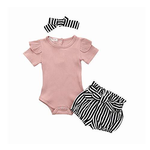 Fossen Kids 3Pcs Baby Girls Ropa Infantil Conjunto Romper Jumpsuit Bowknot Stripe Shorts Trajes