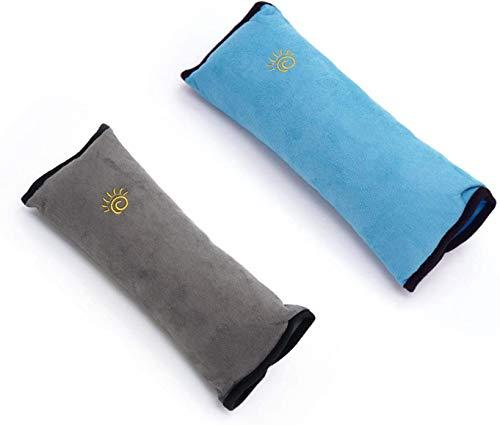 2 pièces Coussin Ceinture Sécurité Enfant, Alldo Protection Ceinture Voiture Harnais d'épaule pour Voyageant épaule sommeil bébé sécurité voiture ceinture de sécurité Siège enfant (Bleu + gris)