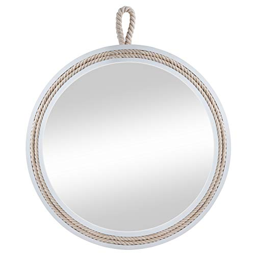 11.4'' Beautiful Nautical White Wooden Framed Round Decorative Wall Mirror,Small Round Hanging Wall Mirror for All Occasions by Decor Trends
