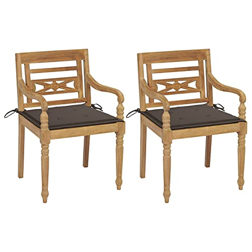 Tidyard 2X Gartenstuhl mit Taupe Kissen Gartenstühle Gartensessel Batavia Stühle Gartenmöbel Sessel Essstuhl Teak Massiv 55 x 51,5 x 84 cm