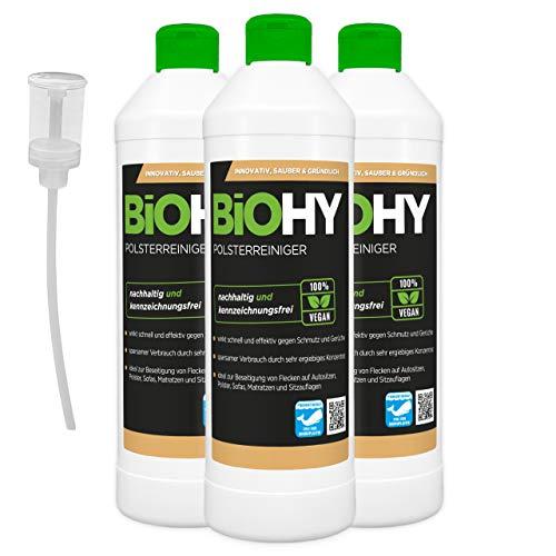 BiOHY Limpiador tapicerías (3 botellas de 500ml) + Distributeur | Ideal para asientos de coche, sofás, colchones, etc. | También es adecuado para las lavadoras (Polsterreiniger)