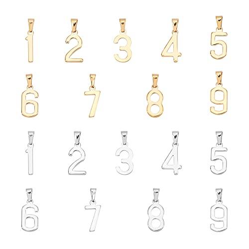 UNICRAFTALE 18 Uds 2 Colores Número 1~9 Encanto Encantos de Acero Inoxidable Números de la Suerte Colgantes Encantos Gran Agujero Cuelga Encantos Fabricación de Joyas