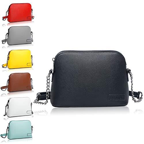 CASAdiNOVA Handtasche Damen Klein - nachhaltiges Leder mit Kette Schultergut fest - Umhängetasche, Schultertasche, Abendtasche, Clutch - moderne Crossbody Bag Tasche - Schwarz