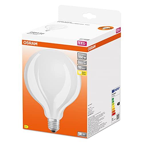 OSRAM LED Star GLOBE125, lámpara LED de filamento mate en forma de globo con 125mm de diámetro, E27, blanco cálido (2700K), 2452 lúmenes, reemplazo para bombillas convencionales de 150W, paquete de 1