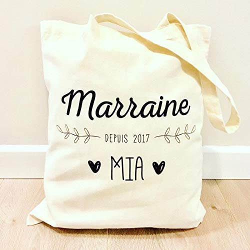 Idée Cadeau Marraine Tote bag Marraine personnalisé (prénom)   Totebag Marraine   Sac