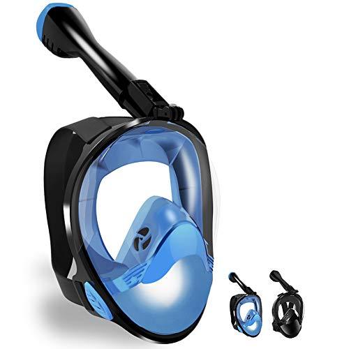 LBHMEI - Máscara de Buceo Completa con Campo de visión de 180°, máscara Completa de Buceo con Soporte para cámara, antivaho, antifugas, Adecuado para Adultos y niños (Azul, L/XL)