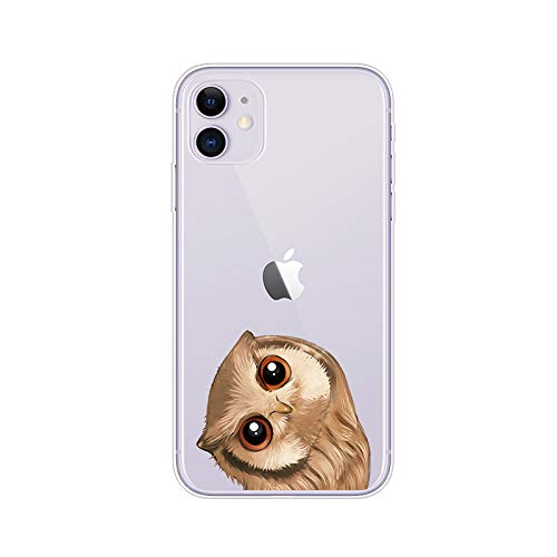 iPhone 11 (6.1 inch) Case,Blingy's Owl Style Transparent Clear Soft TPU Protective Case Compatible for iPhone 11 6.1' 2019 Release (Small Owl)