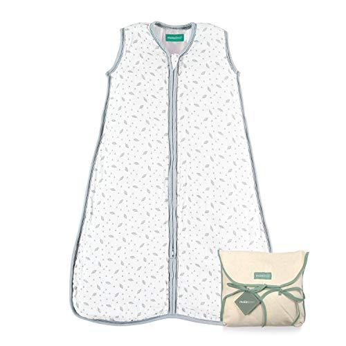 molis&co. 0.5 TOG. Baby sommerschlafsack. 6 bis 18 Monate. Superweich und leicht. Unisex-Druck von grauem Blatt. Premium-Musselin.