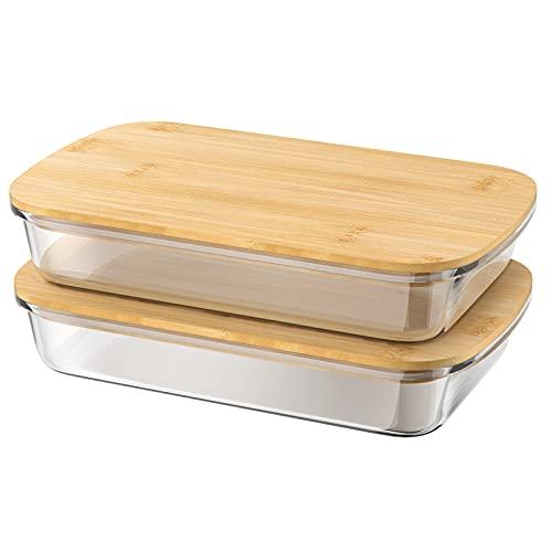 1,5 L Aufschnittbox aus Borosilikatglas mit Bambusdeckel, 2er Set Gross Frischhaltedose für den Kühlschrank, Auflaufform Flach Wurstbox Käseglocke