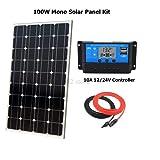 SISHUINIANHUA 100W Solar Cell Bricolaje Kits Barco Solar del Sistema de RV/monocristalino de Paneles solares de 100W 1 * 10A LCD regulador Solar de 1 Juego de Cables 5M MC4
