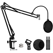 Blue Snowball Microphone Stand and Blue Snowball iCE Suspension Mic Boom Scissor Arm Stand with Mic Windscreen and Dual Layered Mic Screen Pop Filter Heavy Duty Boom Scissor Arm Stands,Broadcasting