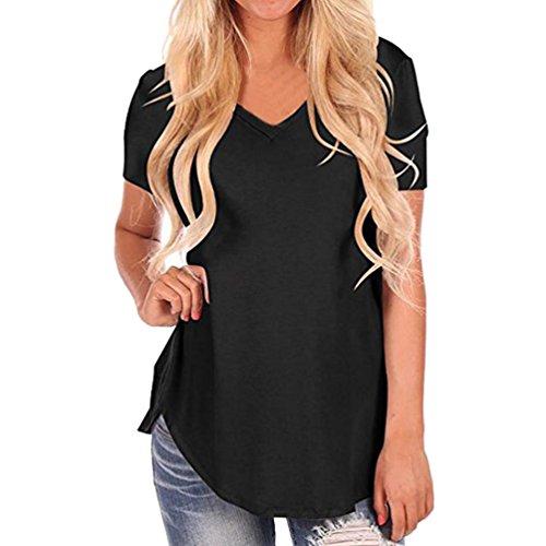 tuduz más reciente diseño de la mujer sexy manga corta cuello de pico Irregular Hem Loose T-Shirt camiseta de Casual Tops, negro, Large