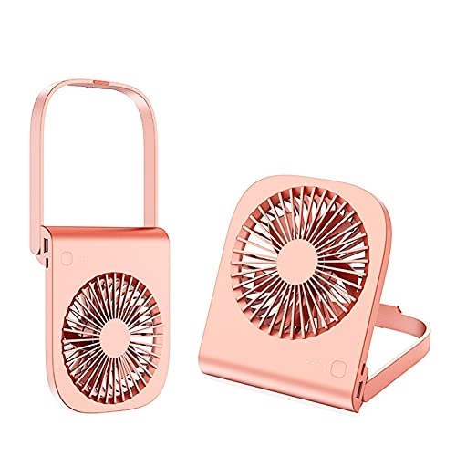 CGGA Ihoven Portable Table Fan USB Recargable con Banco de Power Bank 4800mAh Mini Fan de Escritorio Ajustable para Gadgets Office Home (Color : Pink)