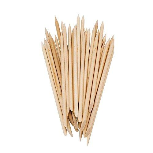 Hilai 50 STÜCKE Holz Sticks doppelseitig Nail Art Multifunktional Nagelhautschieber Manikürstäbchen für Gel und Acryl mit Spitzer und flacher Seite