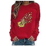 Julhold Sweatershirt para mujer estampado floral color contraste manga larga sólido casual blusa jersey top, Rojo-04, L