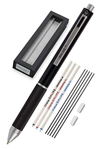 Online Multipen 4-in-1 Schwarz   Kugelschreiber & Bleistift Multifunktionsstift Metall   3x Kugelschreiber-Mine in blau,schwarz und rot, 1x Druckbleistift-Mine   inkl. Radiergummi, in Geschenkbox