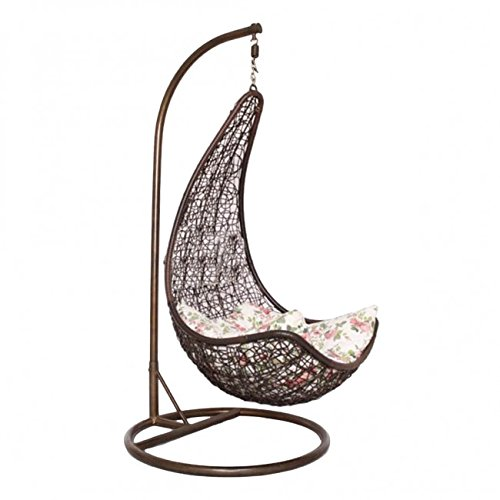 Kaushalendra Swing Hammock Chair Jhula for Home with Stand Indoor Outdoor Balcony 120 kg Capacity (Brown)
