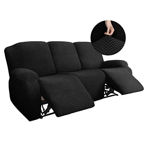 WLVG Funda elástica para sofá reclinable de 1, 2 y 3 plazas, Funda reclinable de Jacquard Antideslizante para Gatos, Perros, Fundas de sofá, Negro, sofá (8 Piezas)