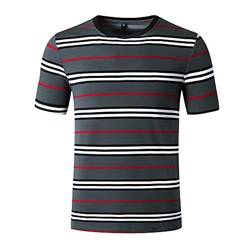 Shirt Hombre Verano Regular Fit Hombre Sin Cuello Shirt Moda Color Rayas Manga Corta Correr Shirt Cuello Redondo Deportiva Camisa Cómodo Wicking Transpirable Casual Shirt D-Grey L