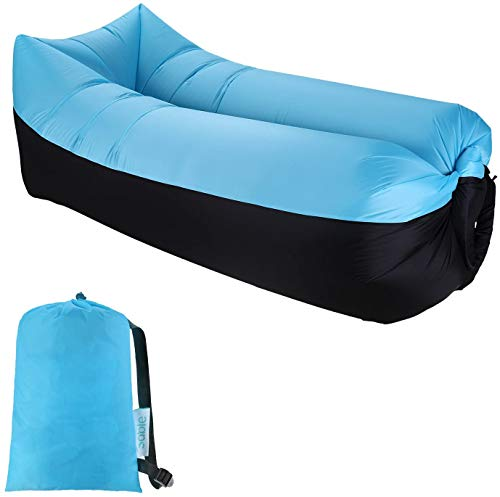 Inflatable Lounger Air Sofa Bed Hammock Couch Chair, Portable, Waterproof for Indoor and Outdoor...