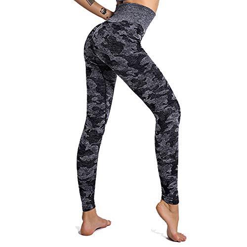 SotRong Adelgazantes Mallas Running Mujer Camuflaje Pantalones Deportivos Push Up Leggings Yoga Anticeluliticas Desigual Negro M