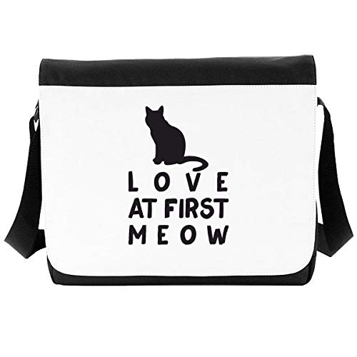 Love at First Meow Cat Person Animal Lover Petsshoulder Bag - Large