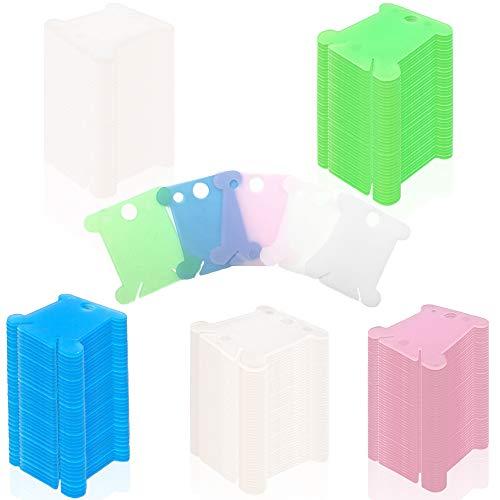 5 colores 300 bobinas de hilo de plástico, mini tarjetas de hilo de bordado, linda bobina de punto de cruz para organizador de hilo de bordado, hilo de algodón para...