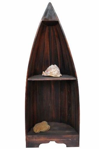 Naturesco Exotisches Bootsregal Regal Boot massiv Holz Dunkelbraun 95cm