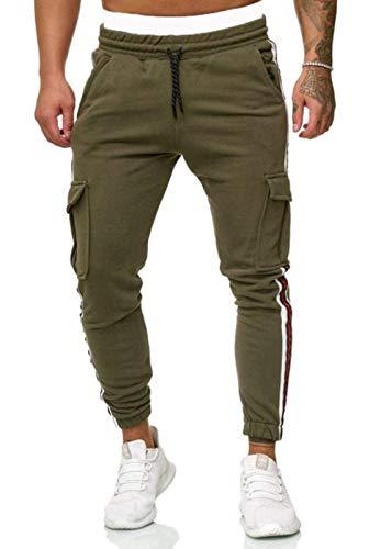 Miwaimao Pantalon cargo pour homme Jogging Flap Poches Sideline Jogging Masculin Pantalon de sport Mince Gris Cordon de serrage Pantalon Sportswear - Vert - Medium