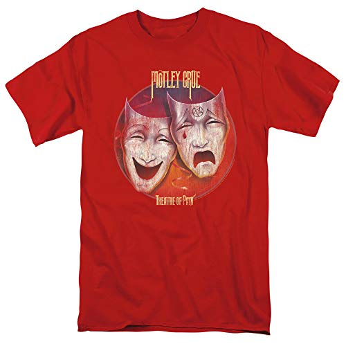 Motley Crue Theatre of Pain Unisex Adult T Shirt for Men and Women, X-Large Red
