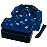 Japanese Traditional Rabbit Blossom Bento Box Set - Square 2 Tier Bento Box, Rice Ball Press, Bento Bag (Blue) by Skater