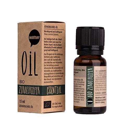 Wohltuer Bio Zirbelkiefernöl Ätherisches Öl Zirbelkiefer Bio (15ml) Zirbenöl Zirbelöl Organic Essential Oil Stone pine Duftöl Aromaöl