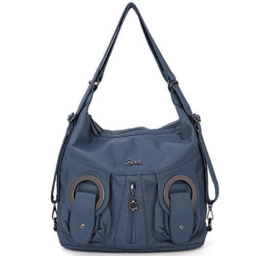 KL928 Damen Schultertaschen Handtaschen Umhängetasche Hobo Tasche Rucksack Weiches Leder Crossbody Geldbörse mit Reißver Schlusstaschen (Blue)