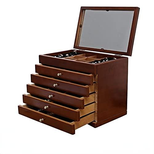 Joyero para niñas con 5 cajones organizadores cajas para cajones Cajas decorativas para almacenamiento con espejo con pantalla de cristal para pendientes pulsera collar regalo