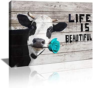 KuyiArt Home D cor Picture Canvas Wall Art Cute Cow with Inspiration Motto Canvas Prints Poster product image
