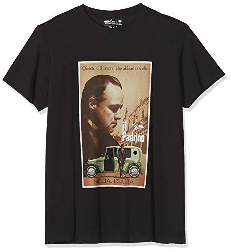 MERCHCODE Herren Godfather Poster T-Shirt, Black, S