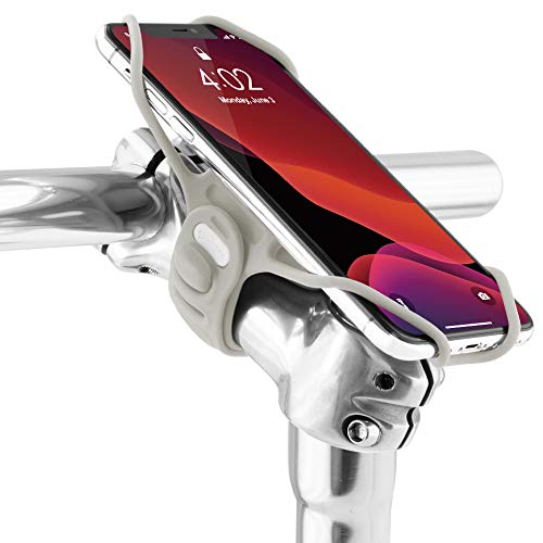 Bone Bike Tie Pro 3 Universal Fahrradhalter, Flexibler Handyhalter für Smartphone 5,8-7,2 Zoll aus Silikon. Staße- Renn- und Tourenrad Apple iPhone Samsung Galaxy Huawei Xiaomi - Grau