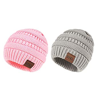 DYKL 2 Packs Kids Winter Warm Knit Hats for Boys Girls Soft Toddler Beanies for Boys