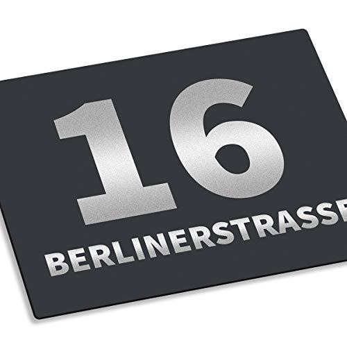 Hausnummernschild Hausnummer • Edelstahl RAL 7016 Anthrazit pulverbeschichtet • mit Wunschnummer + Straßenname • Design 12 (1mm) - 2