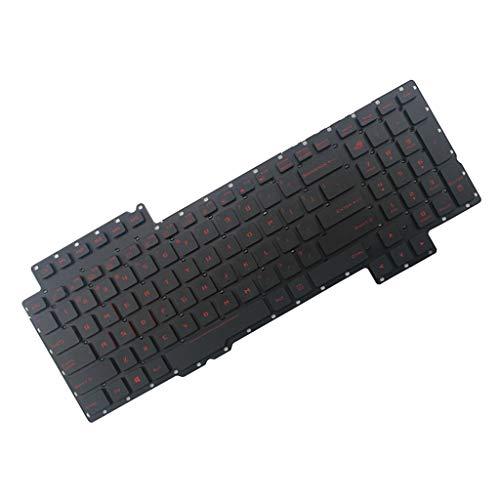 Shiwaki Englisch Ersatz Tastatur Notebook Keyboard Ersatztast für ASUS ROG G752 G752V G752VL Laptop, Schwarz