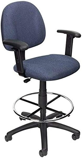 JumpingLight Work SPA Medical Salon Fabric Upholstered Office Drafting Stool In Blue