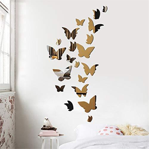 Etiquetas engomadas de la pared del espejo de la mariposa 3D, pared del espejo de acrílico de DIY extraíbles calcomanías decoración mural del arte, decoración del hogar para sala de estar