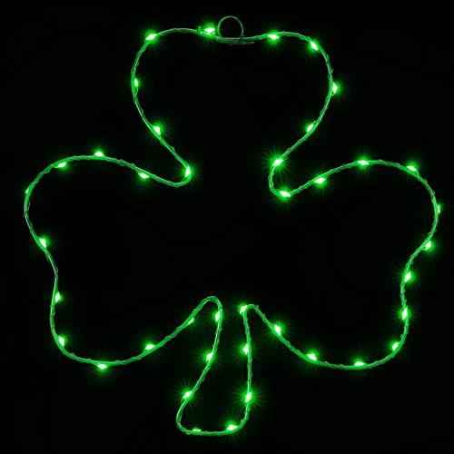 Beleuchtete Fensterdekoration für St. Patrick's Day, 39,8 cm, 40 LEDs, irisches grünes Kleeblatt, mit Eisenrahmen, batteriebetriebene Fenster-Lichter