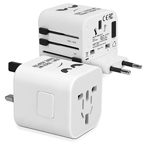 kwmobile Universal Reiseadapter für 150 Länder - Stromadapter Stecker Europa UK Australien USA - Weltreise Reisestecker Weiß - Don't Touch Design