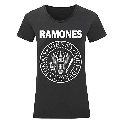 LaMAGLIERIA Camiseta Mujer Ramones - Camiseta 100% Algodon, S, Negro