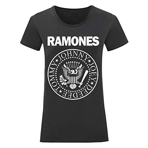 LaMAGLIERIA T-Shirt Donna Ramones - Maglietta 100% Cotone, L,Nero