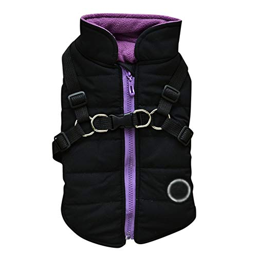 Norbi Pet Warm Jacket Small Dog Vest Harness Puppy Winter 2 in 1 Outfit Cold Weather Coat