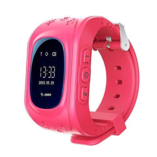 KawKaw Q50 GPS Kids Smartwatch mit SOS-Knopf Für Jungen Und Mädchen Mit Anruffunktion, Standortlokalisierung, Tracker | Elektrisches Notfallarmband für Kinder | Ohne Handy verwendbar (Pink)