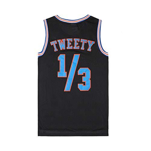 Herren Basketball Trikot Michael Jordan # 23 Space Jam Black Street Retro T-Shirt Sommer Stickerei Tops Junge Swingman Basketball Kostüm Geburtstagsgeschenk (S-3XL)-Black.1/3-XXXL(190.195cm)